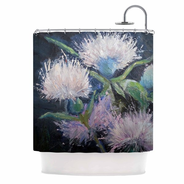 KESS InHouse Carol Schiff Thistle Love Pink Green Shower Curtain (69x70)