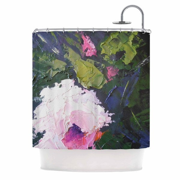 KESS InHouse Carol Schiff Textured Pink Rose Pink Green Shower Curtain (69x70)
