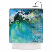 KESS InHouse Carol Schiff Turquoise And Green Abstract Blue Teal Shower Curtain (69x70)