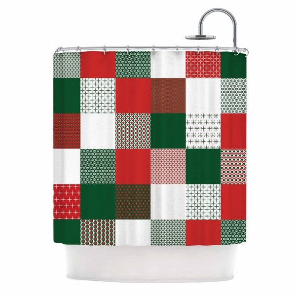 "KESS InHouse Carolyn Greifeld ""Holiday Patchwork"" Red Green Shower Curtain (69x70) - 69 x 70"