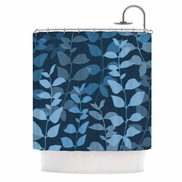KESS InHouse Carolyn Greifeld Leaves Of Dreams Blue Shower Curtain (69x70)