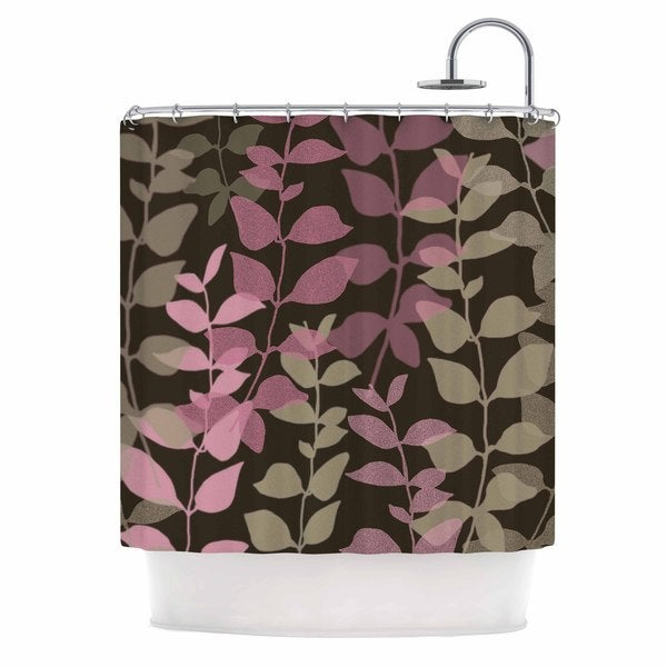 KESS InHouse Carolyn Greifeld Leaves of Fantasy 2 Pink Brown Shower Curtain (69x70)