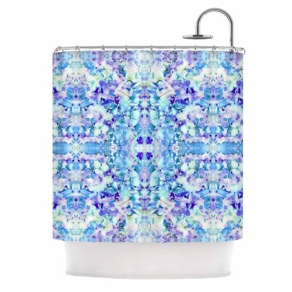 KESS InHouse Carolyn Greifeld Floral Fantasy Blue Reflection Purple White Shower Curtain (69x70)