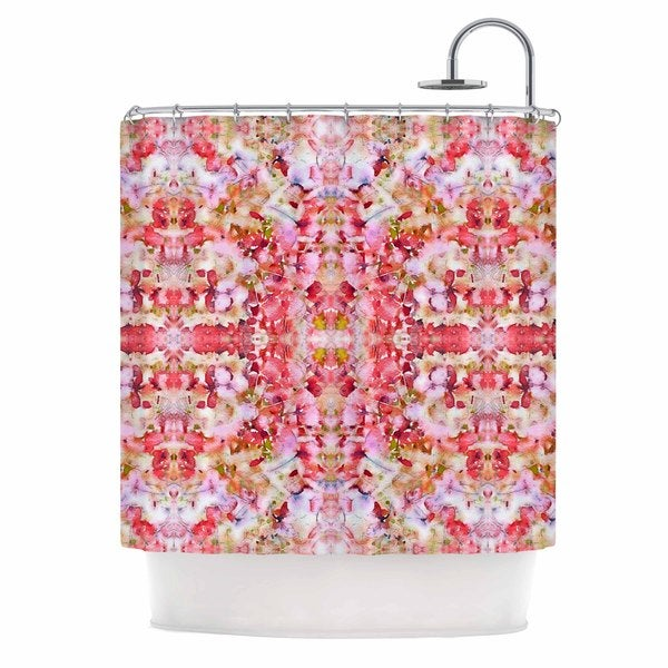 KESS InHouse Carolyn Greifeld Floral Reflections Pink Red Shower Curtain (69x70)
