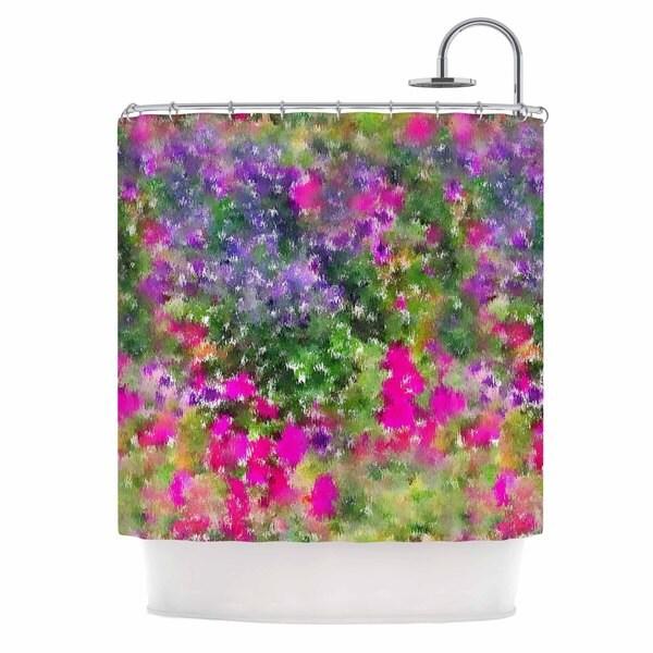 KESS InHouse Carolyn Greifeld Water Florals Pink Green Shower Curtain (69x70)
