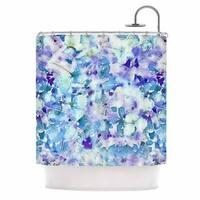 "KESS InHouse Carolyn Greifeld ""Floral Fantasy Blue"" Purple White Shower Curtain (69x70) - 69 x 70"