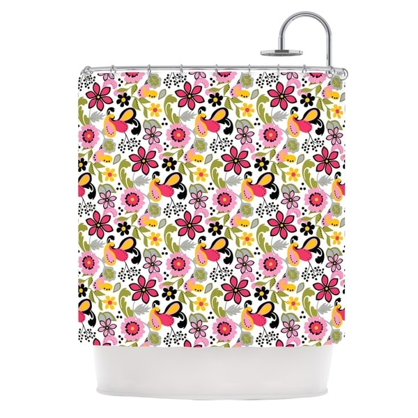 KESS InHouse Carolyn Greifeld Pretty Florals Pink Yellow Shower Curtain (69x70)