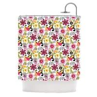 KESS InHouse Carolyn Greifeld Pretty Florals Pink Yellow Shower Curtain (69x70)