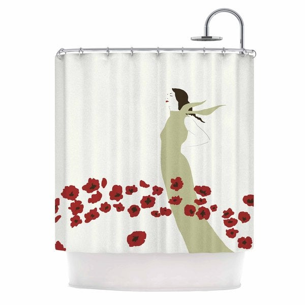 KESS InHouse Mayacoa Studio Poppy Field Red Green Shower Curtain (69x70)