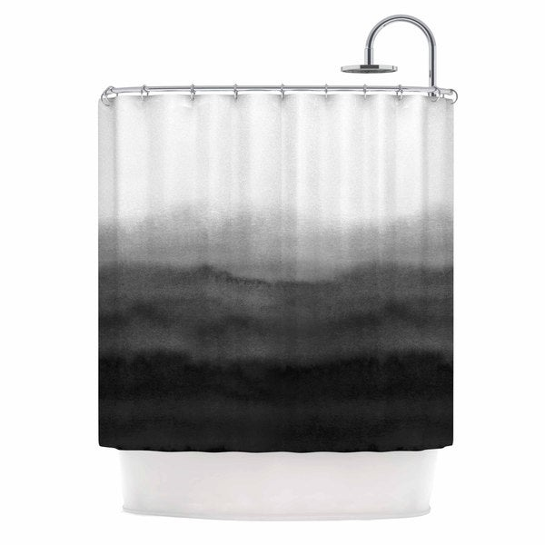 Shop KESS InHouse Draper Ombre Ink Wash Grey Black Shower Curtain 69x70