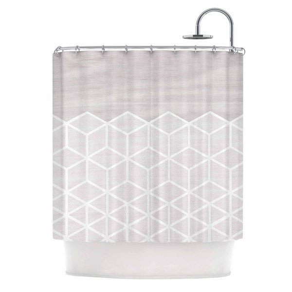KESS InHouse Draper Geo White Woodgrain Gray White Shower Curtain (69x70)