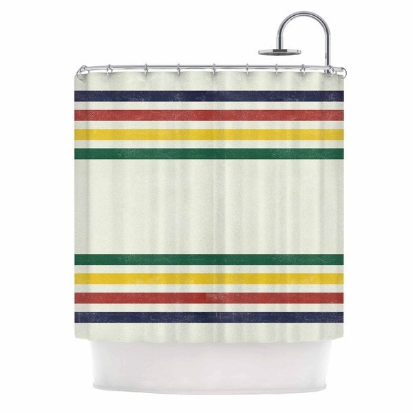 KESS InHouse Draper Eagle Scout Green Stripes Shower Curtain (69x70)
