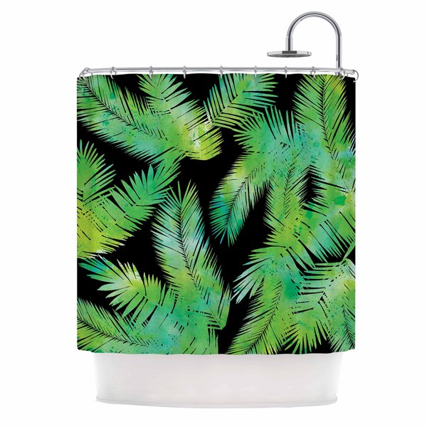 KESS InHouse Draper Tropic Green Black Nature Shower Curtain (69x70)