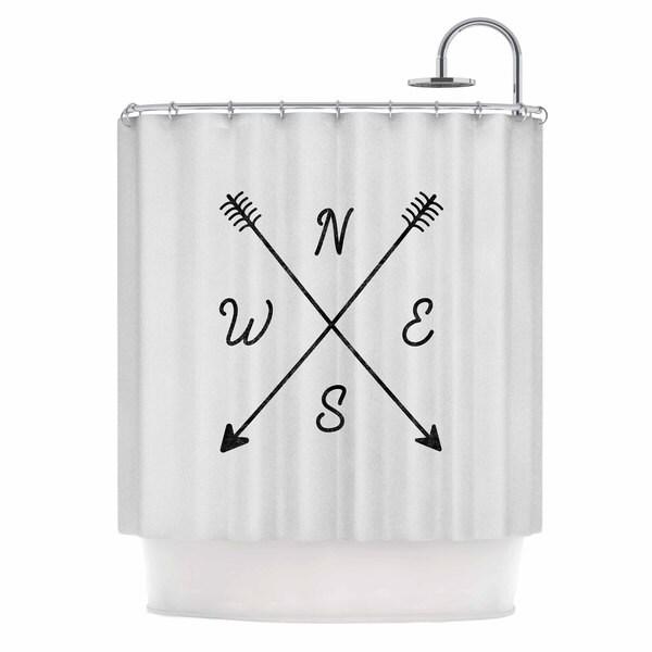 KESS InHouse Draper Cardinal Direction W White Illustration Shower Curtain (69x70)