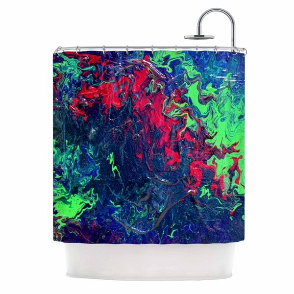 KESS InHouse Claire Day Free Falling Green Abstract Shower Curtain (69x70)