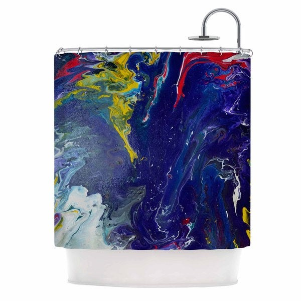 KESS InHouse Claire Day Reunited Blue Red Shower Curtain (69x70)