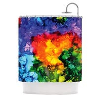 KESS InHouse Claire Day Karma Rainbow Paint Shower Curtain (69x70)