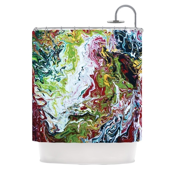 KESS InHouse Claire Day Chaos Red White Shower Curtain (69x70)