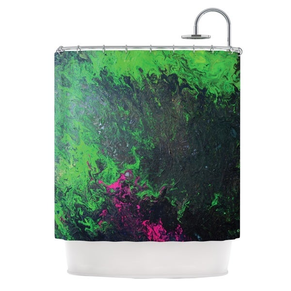 KESS InHouse Claire Day Acid Rain Green Black Shower Curtain (69x70)