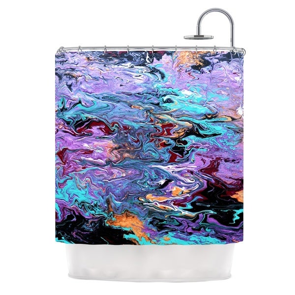 KESS InHouse Claire Day Lola Purple Paint Shower Curtain (69x70)