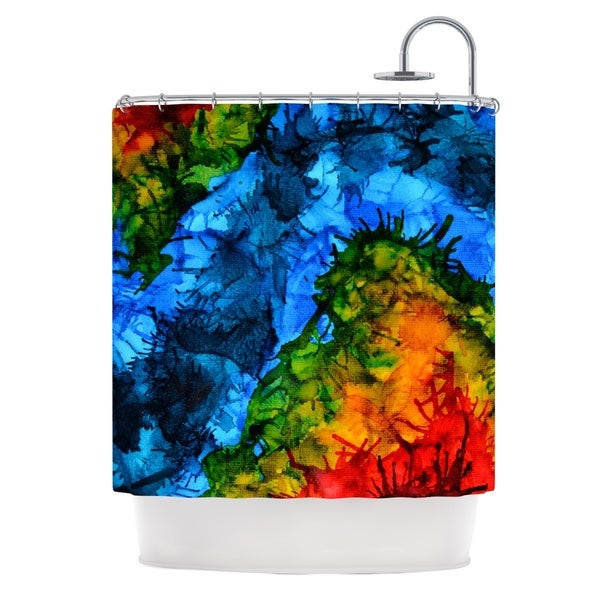 KESS InHouse Claire Day Flow Blue Green Shower Curtain (69x70)