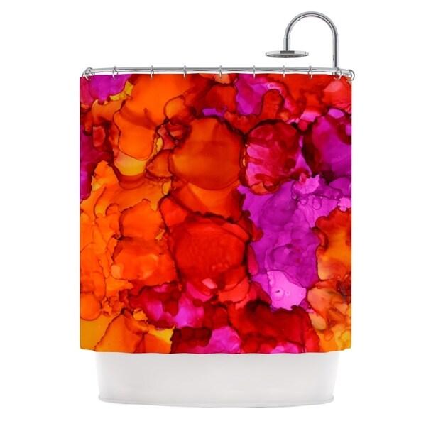 KESS InHouse Claire Day Fierce Pink Orange Shower Curtain (69x70)