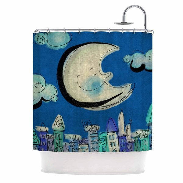 KESS InHouse Carina Povarchik Moon Blue White Shower Curtain (69x70)