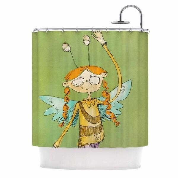 KESS InHouse Carina Povarchik Urban Fairy Girl Green Kids Shower Curtain (69x70)