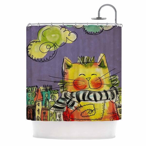 KESS InHouse Carina Povarchik Urban Cat With Scarf Yellow Illustration Shower Curtain (69x70)