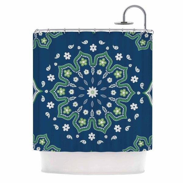 "KESS InHouse Cristina bianco Design ""Blue & Green Mandala Design"" Yellow White Shower Curtain (69x70) - 69 x 70"