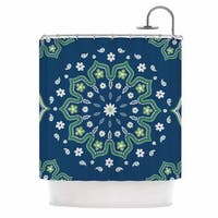 KESS InHouse Cristina bianco Design Blue & Green Mandala Design Yellow White Shower Curtain (69x70)