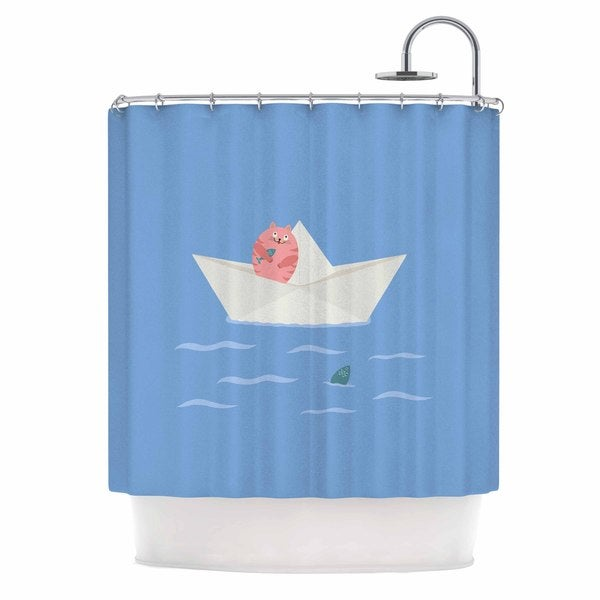 KESS InHouse Cristina bianco Design Cat & Paper Boat Pink Blue Shower Curtain (69x70)