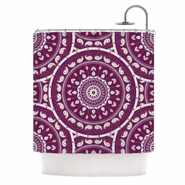 "KESS InHouse Cristina bianco Design ""Mandala Design"" Purple Abstract Shower Curtain (69x70) - 69 x 70"