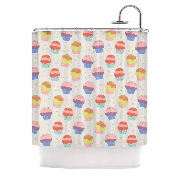 KESS InHouse Cristina bianco Design Cupcakes Yellow Food Shower Curtain (69x70)