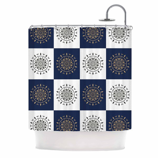KESS InHouse Cristina bianco Design Mandalas * Pattern Navy Pattern Shower Curtain (69x70)
