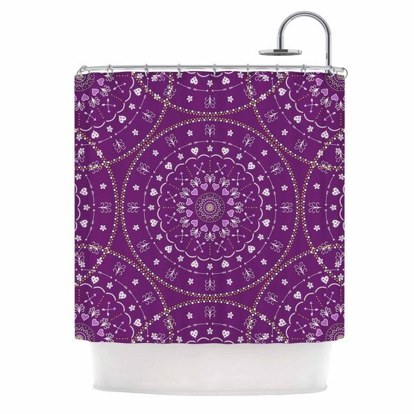 KESS InHouse Cristina bianco Design Purple Mandalas Purple Geometric Shower Curtain (69x70)