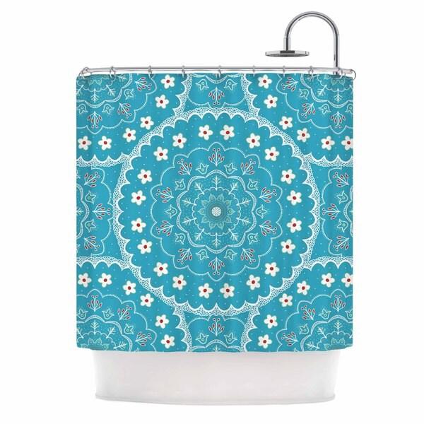 "KESS InHouse Cristina bianco Design ""Blue & White Mandala"" Blue Floral Shower Curtain (69x70) - 69 x 70"