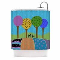 KESS InHouse Cristina bianco Design Cats & Colorful Landscape Pink Illustration Shower Curtain (69x70)