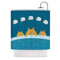 KESS InHouse Cristina bianco Design Sleeping Cats Zzzz Teal Animals Shower Curtain (69x70)