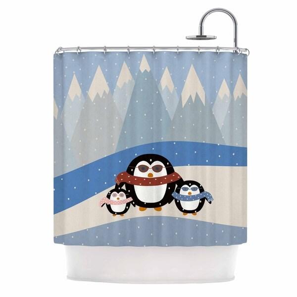 KESS InHouse Cristina bianco Design Cute Penguins Black Illustration Shower Curtain (69x70)
