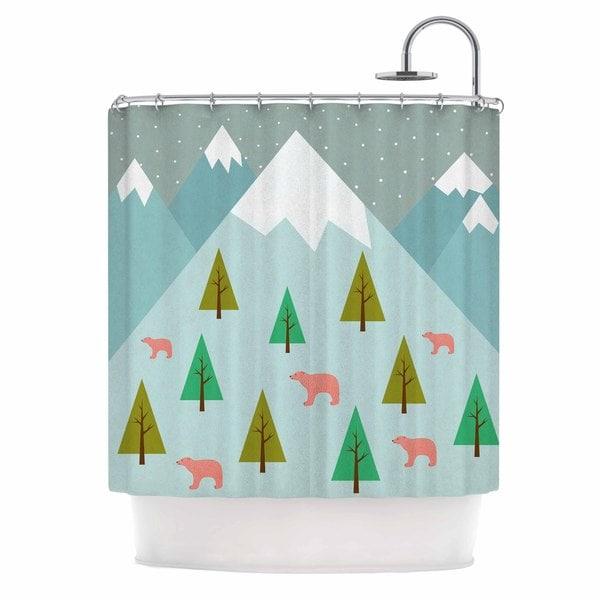 "KESS InHouse Cristina bianco Design ""Bears Illustration"" Blue Nature Shower Curtain (69x70) - 69 x 70"
