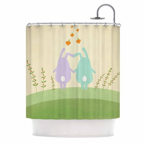 KESS InHouse Cristina bianco Design Cute Bunnies Beige Animals Shower Curtain (69x70)