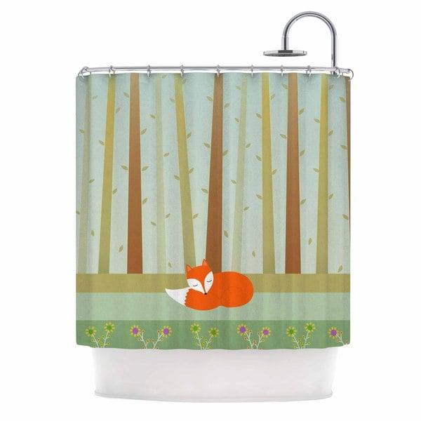 KESS InHouse Cristina bianco Design Sleeping Fox Green Illustration Shower Curtain (69x70)