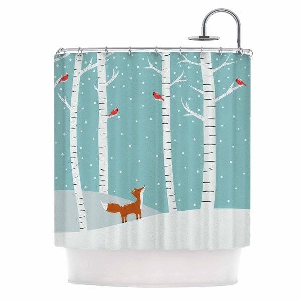 KESS InHouse Cristina bianco Design Fox Cardinals Winter Blue Kids Shower Curtain (69x70)