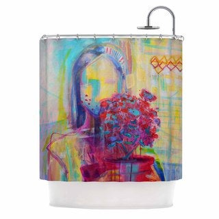 KESS InHouse Cecibd Girl With Plants III Abstract Painting Shower Curtain (69x70)
