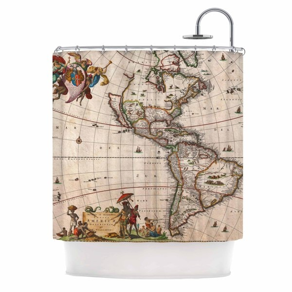 Shop KESS InHouse Bruce Stanfield Vintage Map Of The Americas Brown