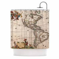 KESS InHouse Bruce Stanfield Vintage Map Of The America's  Brown Green Shower Curtain (69x70)