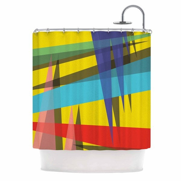 KESS InHouse Bruce Stanfield Ambient 19 Yellow  Bluce Red Shower Curtain (69x70)