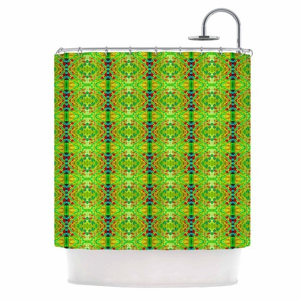 KESS InHouse Bruce Stanfield Rage Against The Machine Green Pattern Shower Curtain (69x70)