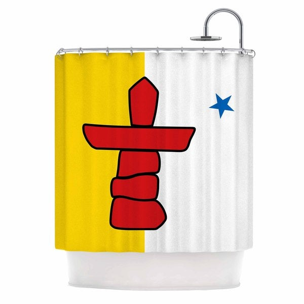 KESS InHouse Bruce Stanfield Flag Of Nunavut Yellow Tribal Shower Curtain (69x70)